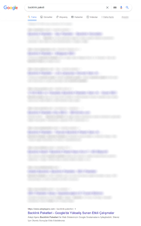 """Backlink Paketi"" İlk Sayfa"